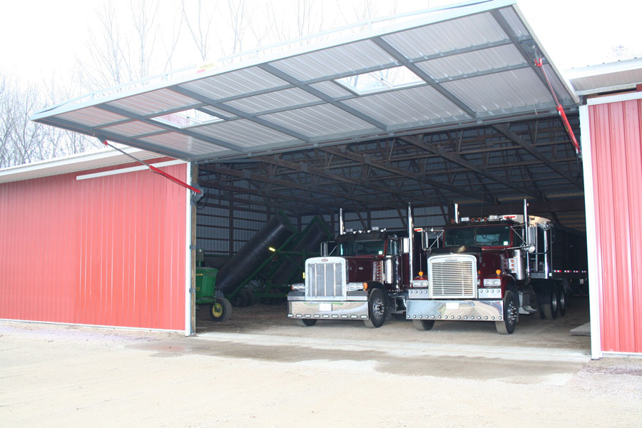 bifold door shed with semi trucks