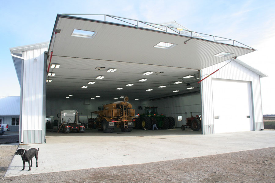 hydraulic door open white equipmet shed