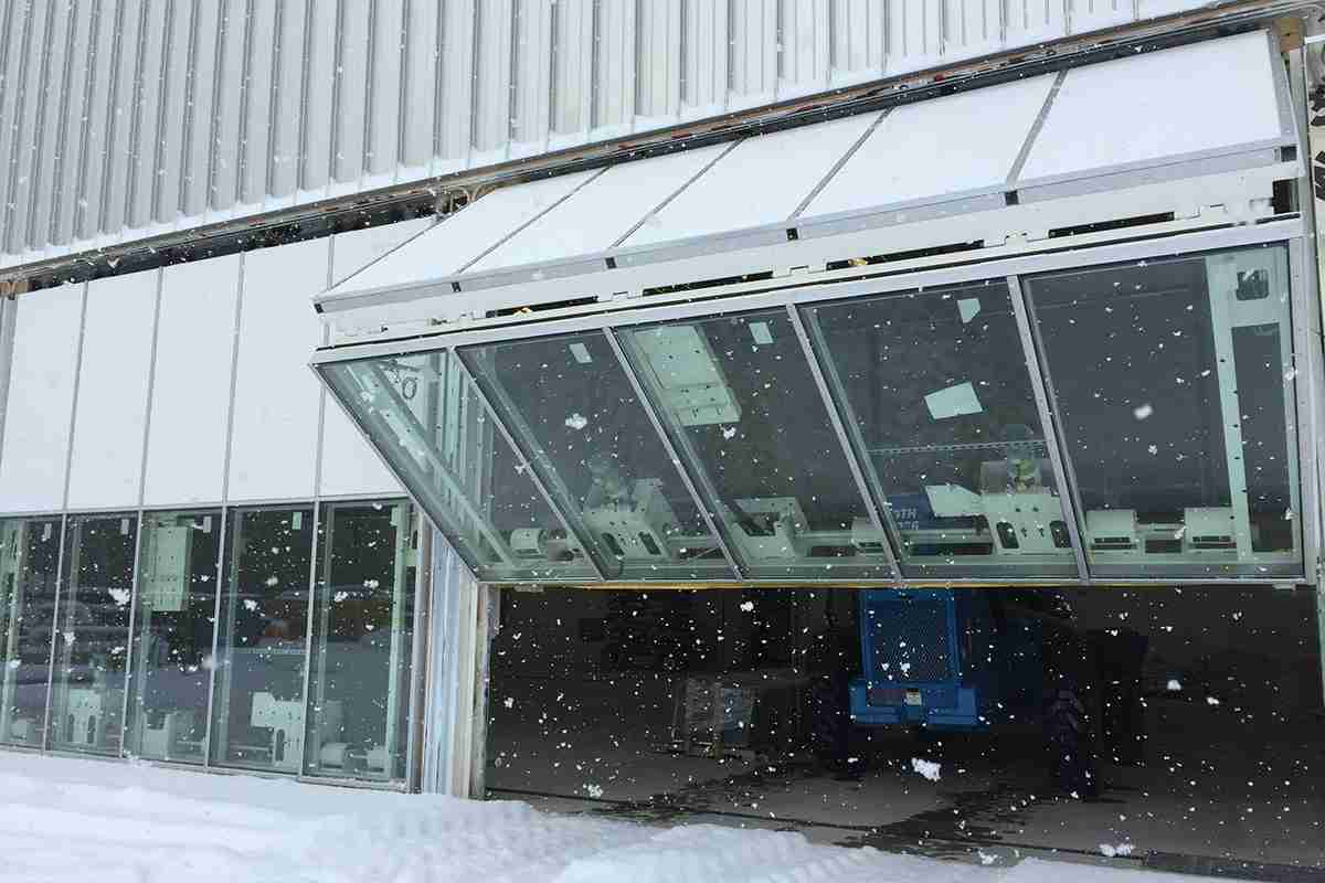 glass bifold door snow