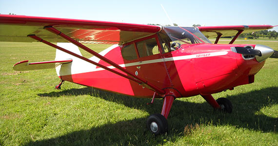 stinson plane on the grass